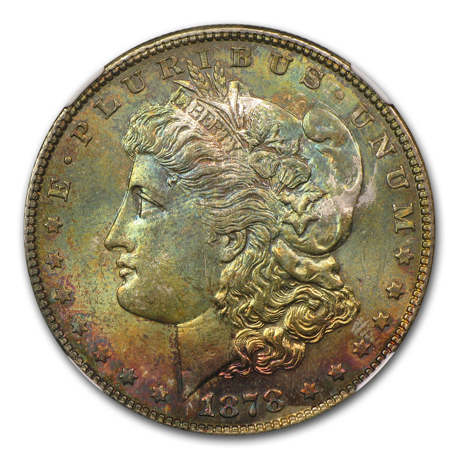 1878 Morgan Dollar - 7 Tailfeathers Rev. of 78 MS-64 NGC - Toned