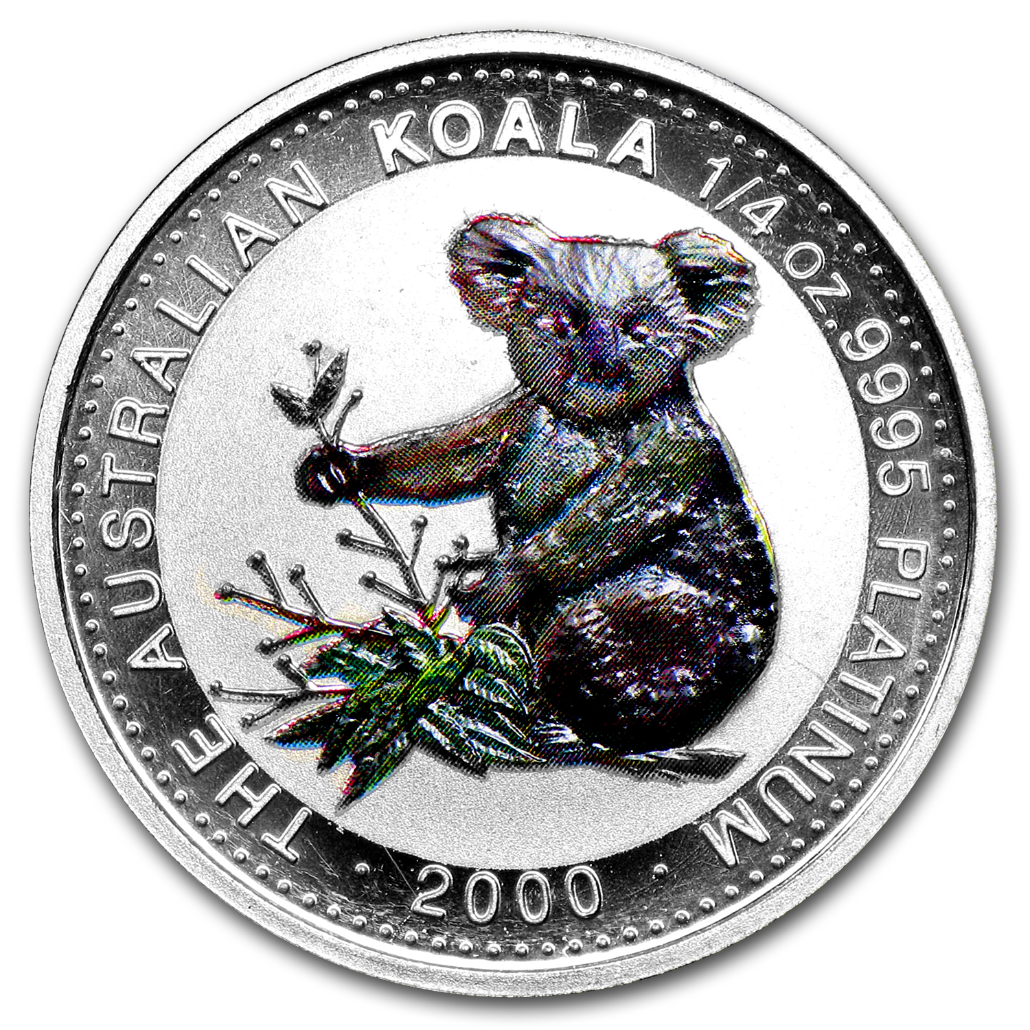 2000 Australia 1/4 oz Proof Platinum Koala (Colorized)