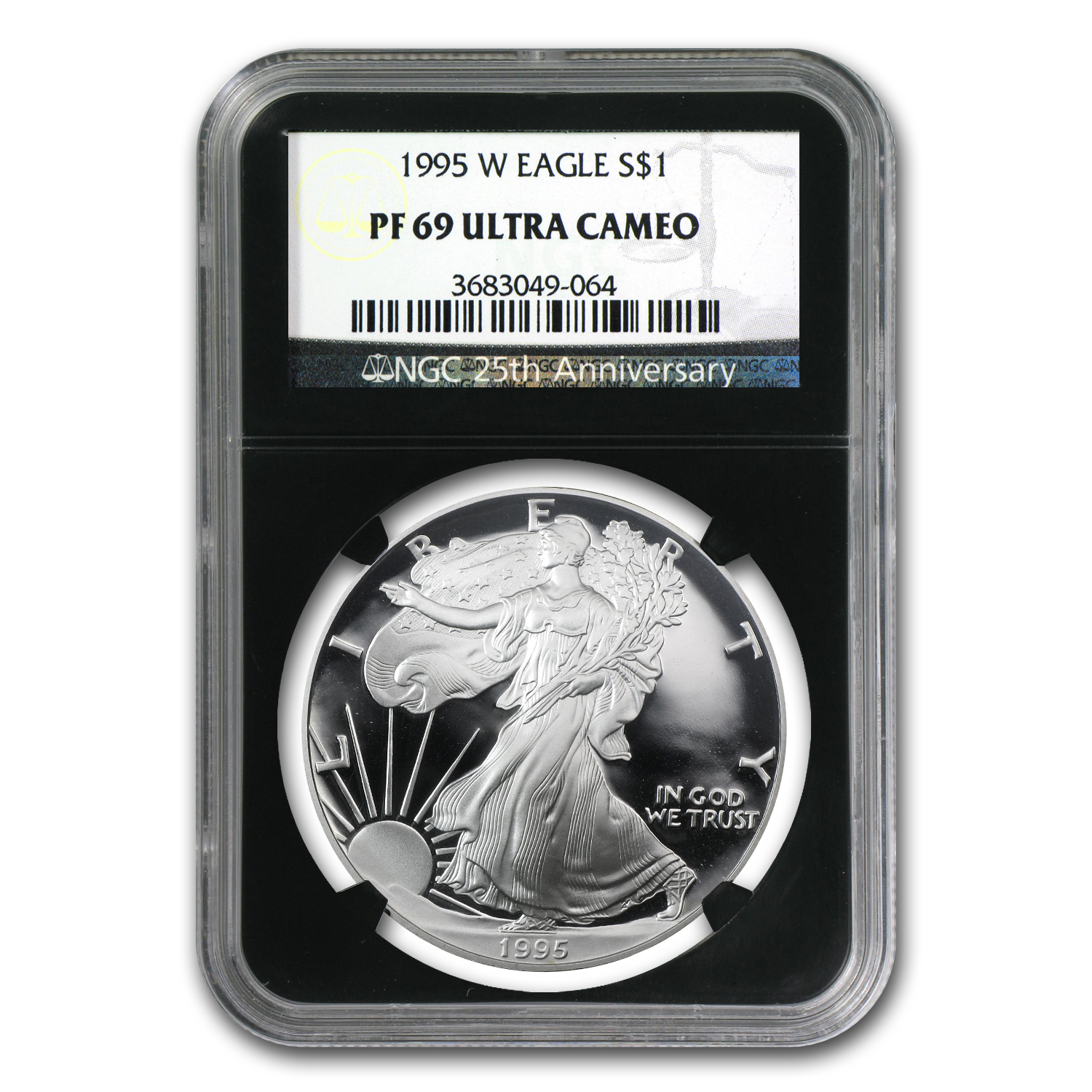 1995-W Proof Silver American Eagle PF-69 NGC (Retro Black Insert)