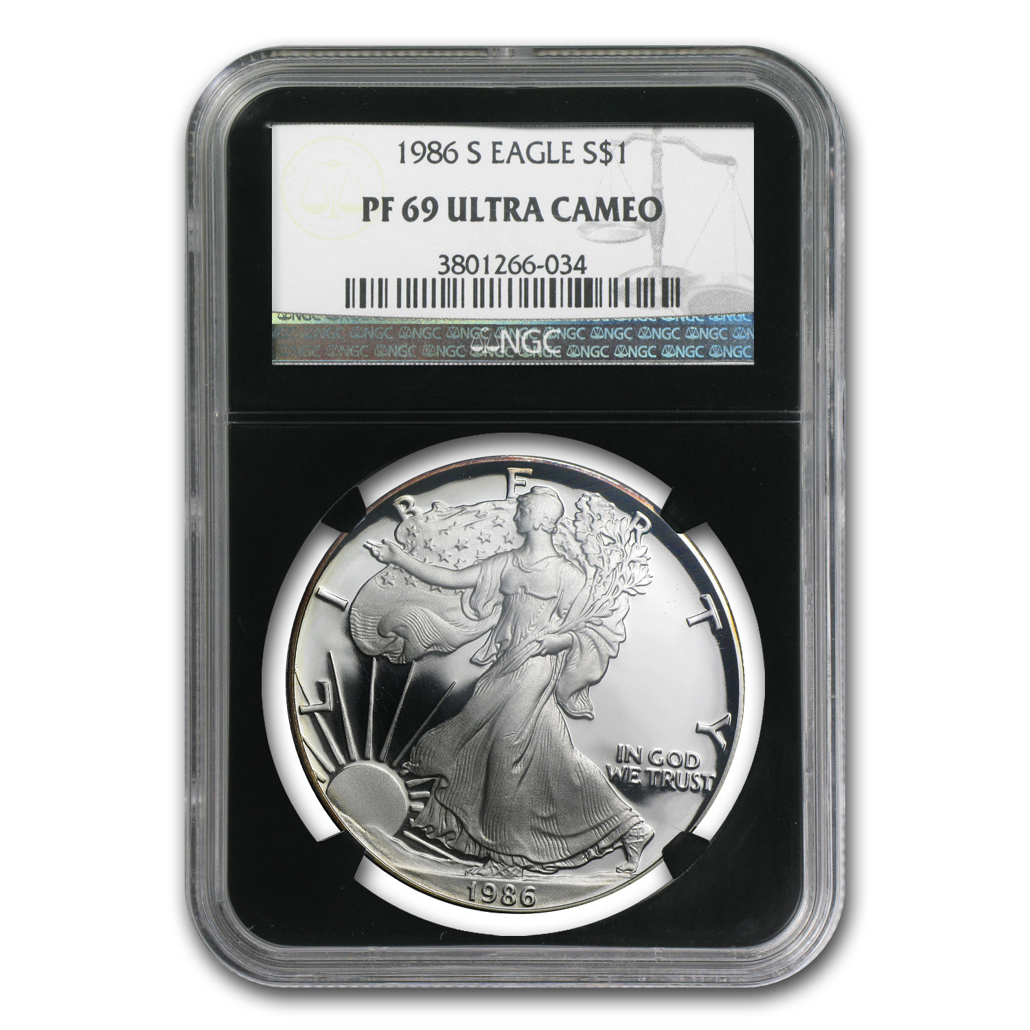 1986-S Proof Silver American Eagle PF-69 NGC (Retro Black Insert)