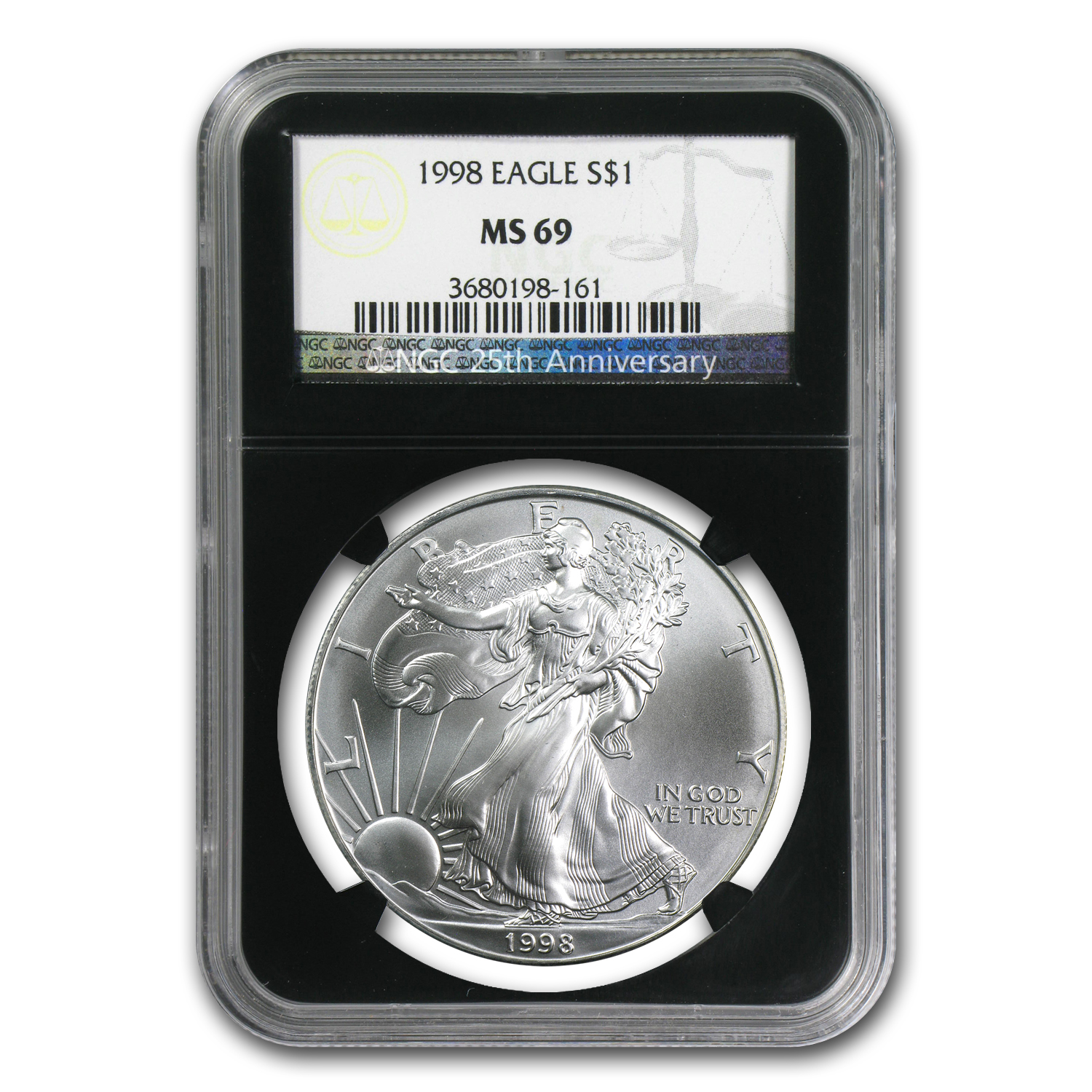 1986-2012 27-Coin Silver Eagle Set MS-69 NGC (25th Ann, Blk Hldr)