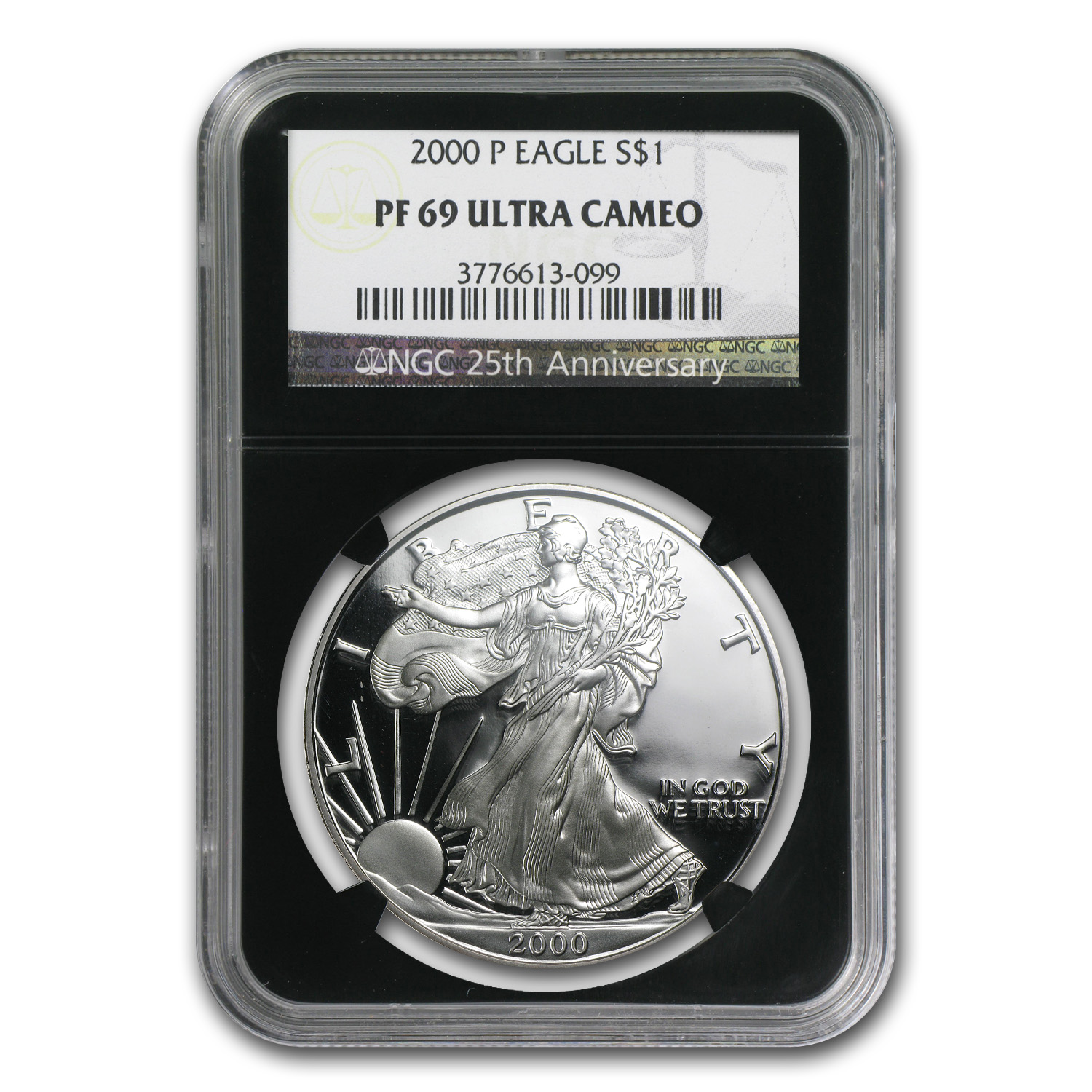 2000-P Proof Silver American Eagle PF-69 NGC (Retro Black Insert)