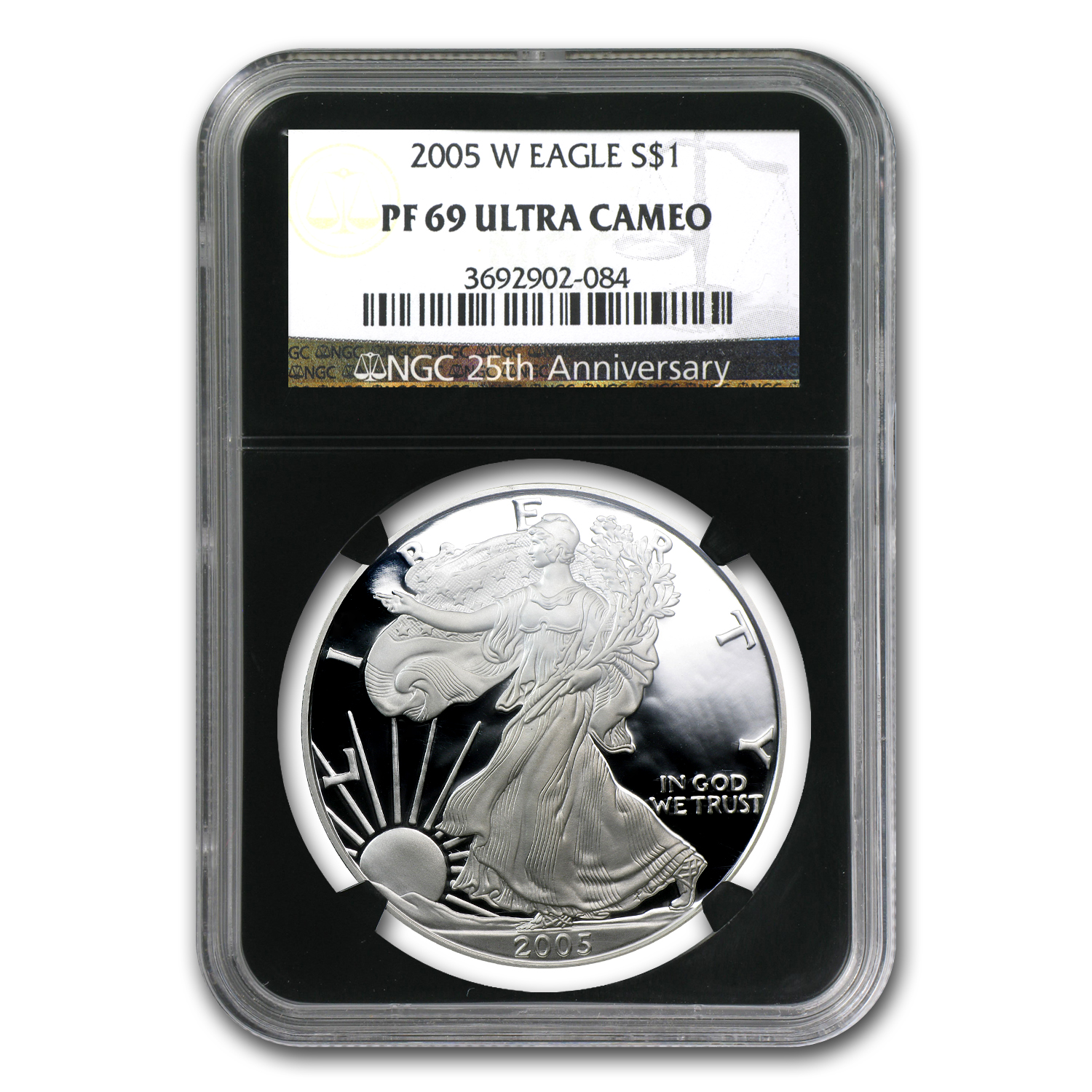 2005-W Proof Silver American Eagle PF-69 NGC (Retro Black Insert)