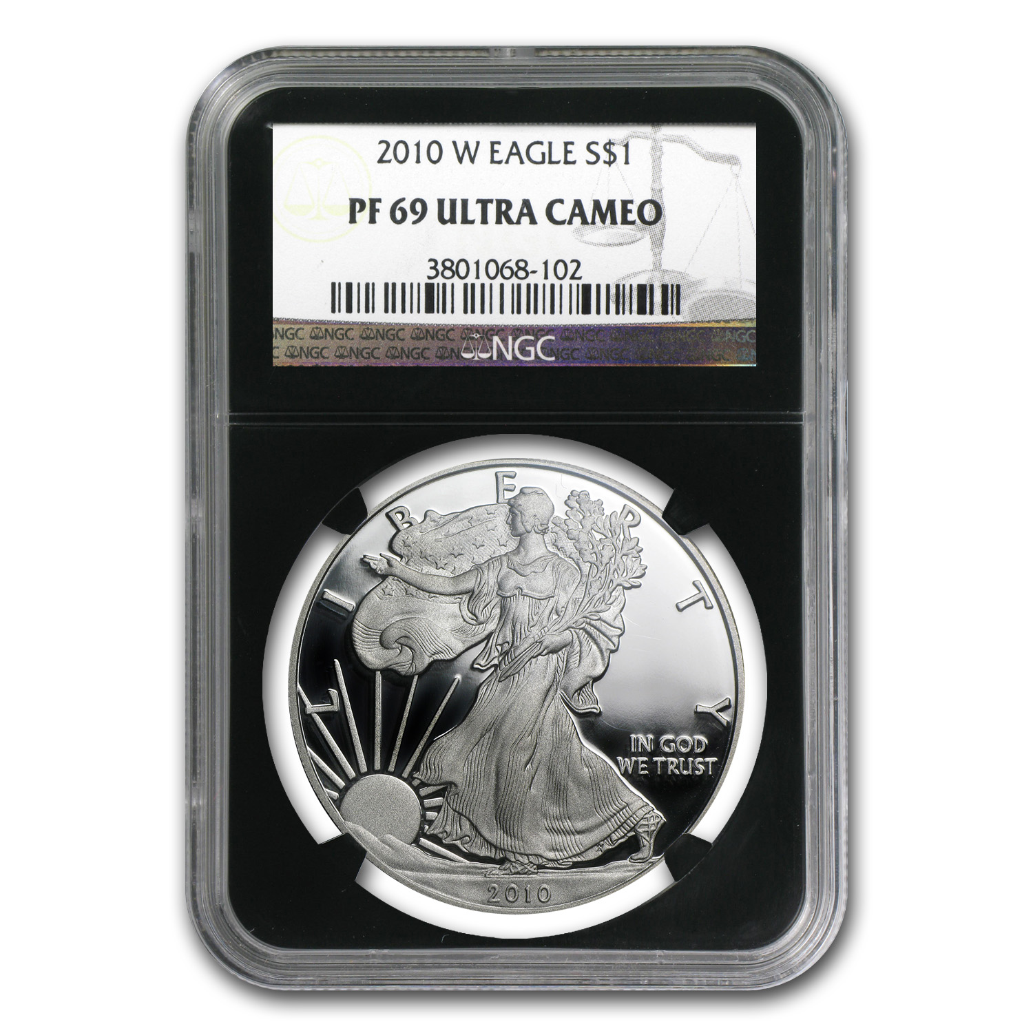 2010-W Proof Silver American Eagle PF-69 NGC (Black Insert)
