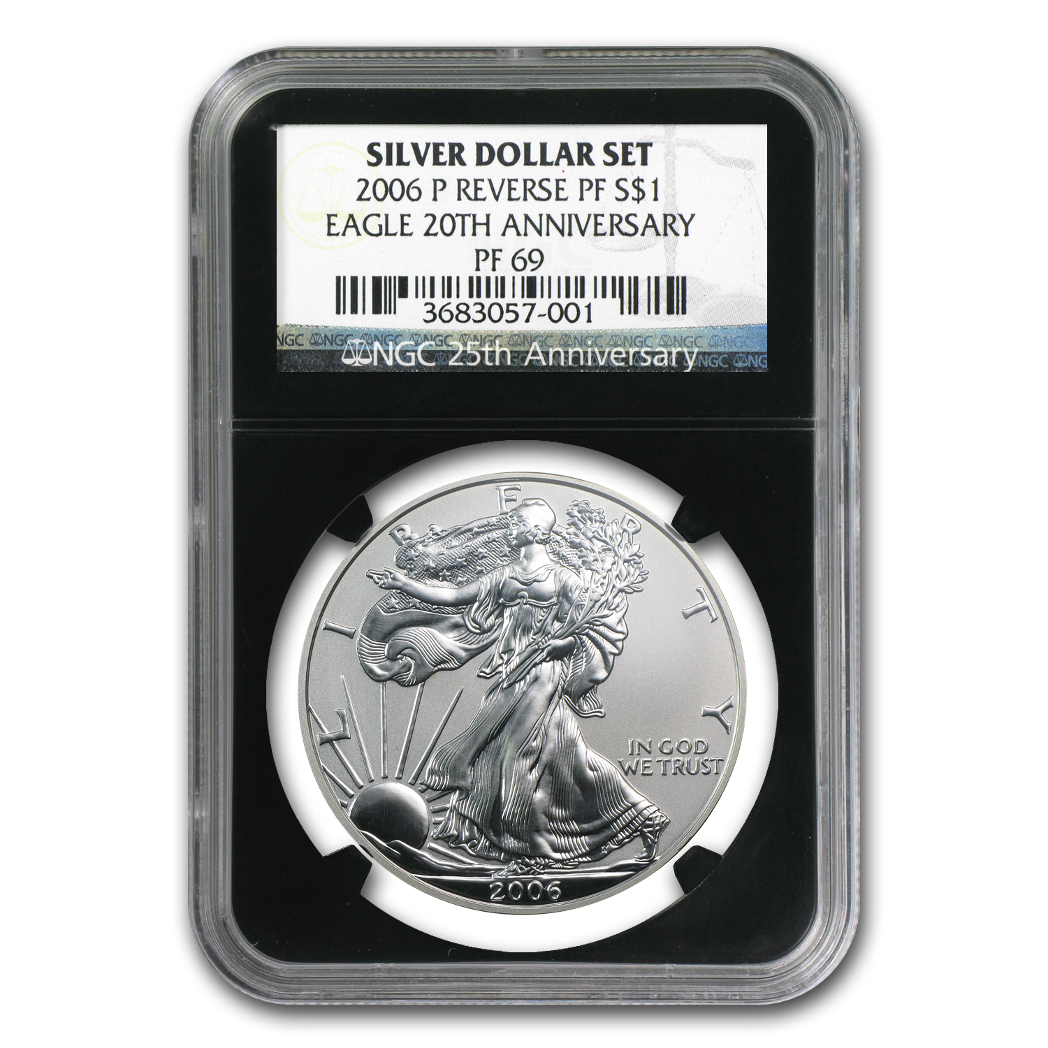 2006-P Reverse Proof Silver Eagle PF-69 NGC (Retro Black Insert)