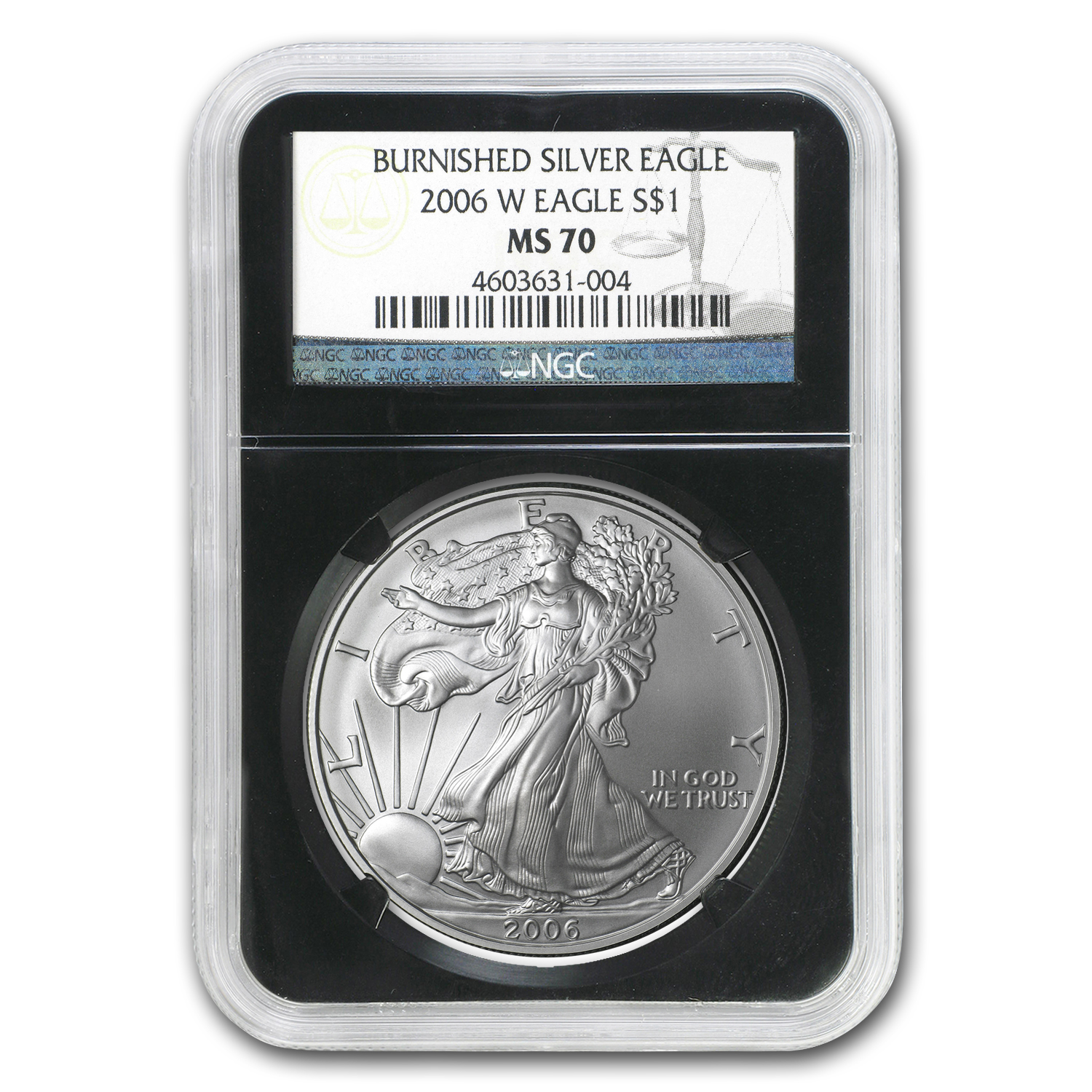 2006-W Burnished Silver American Eagle MS-70 NGC (Black Insert)