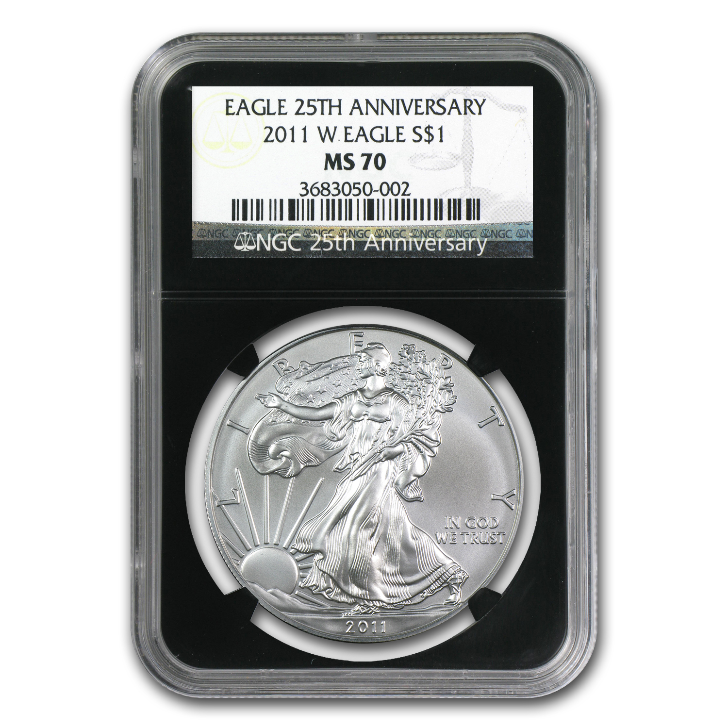 2011-W Burnished Silver American Eagle MS-70 NGC (Black Insert)