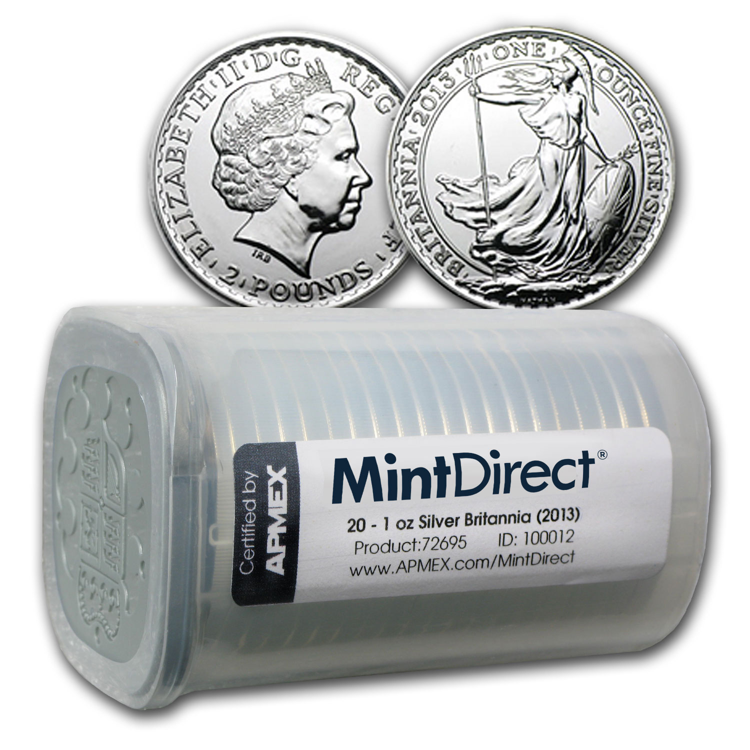 2013 Silver Britannia BU (20-Coin MintDirect® Tube)