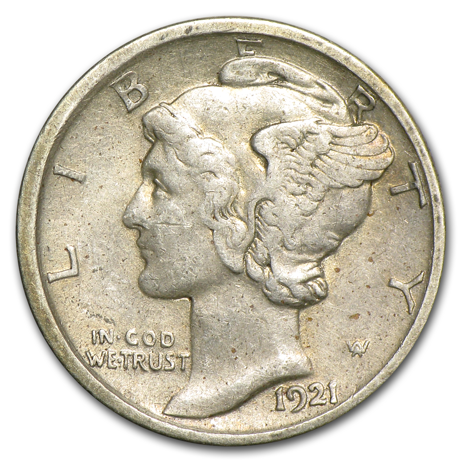 1921-D Very Fine Details - Cleaned Mercury Dime
