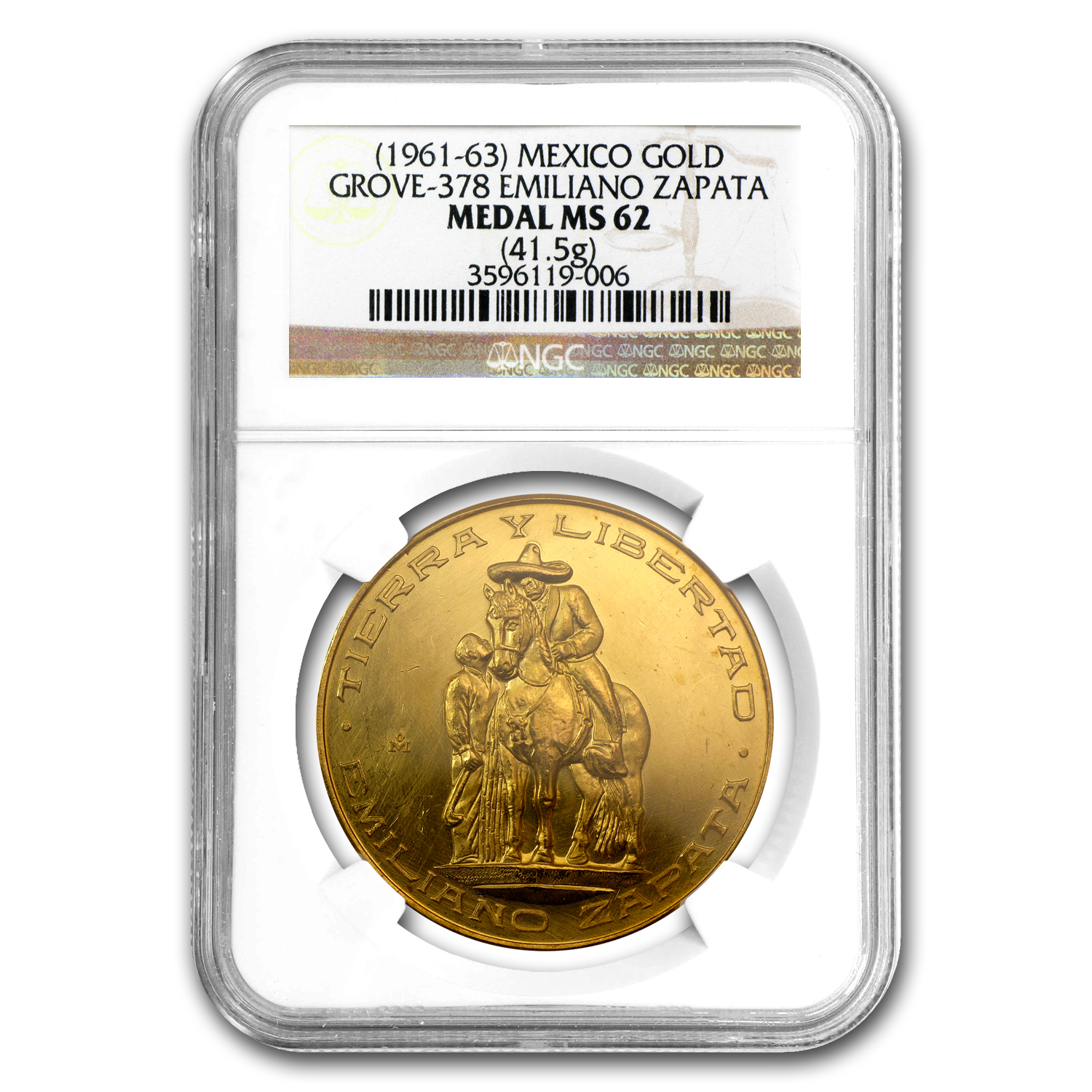 (1961-63) Mexico Gold Emiliano Zapata Medal MS-62 NGC