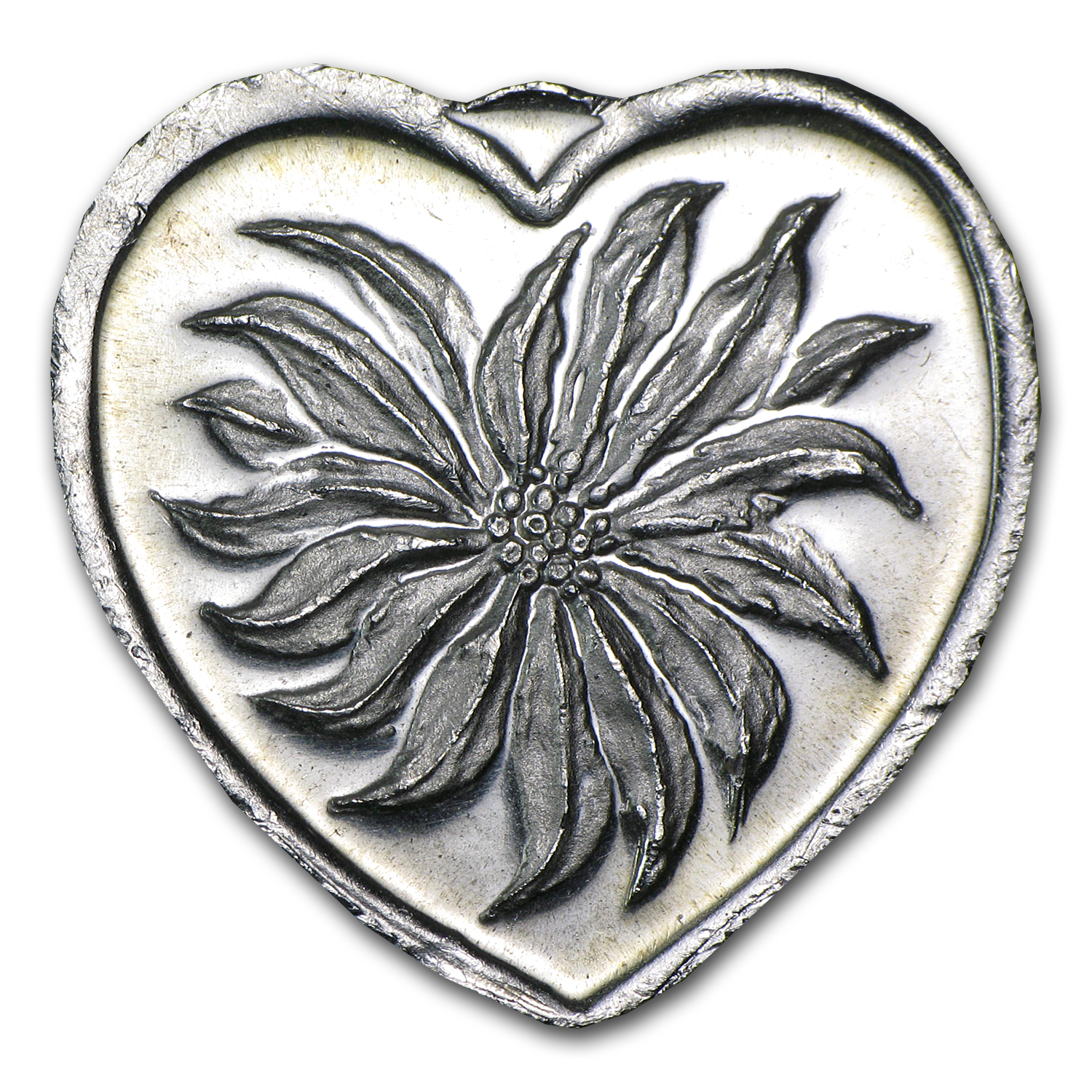 1/4 oz Silver Heart - Poinsettia