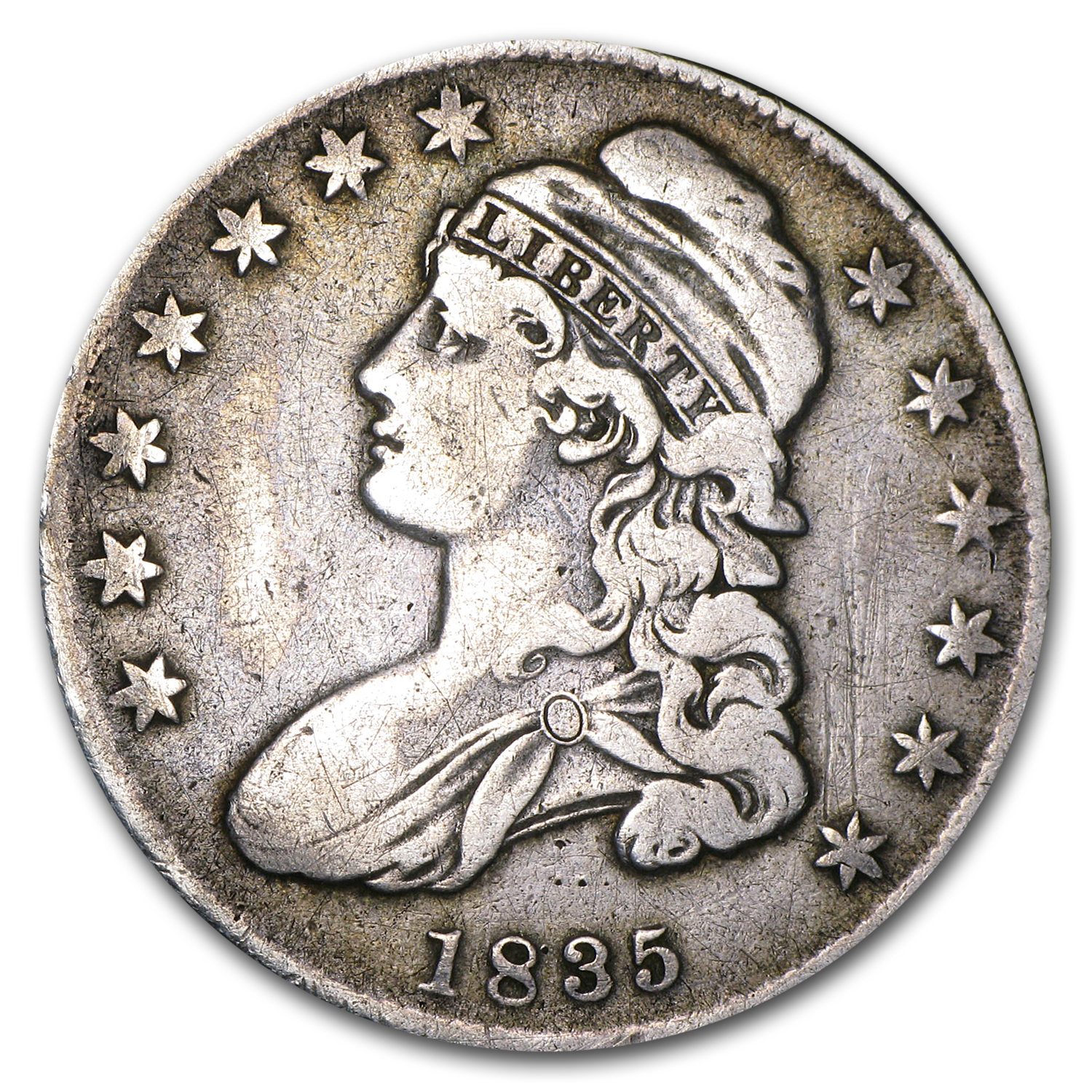 1835 Capped Bust Half Dollar VF (Cleaned)