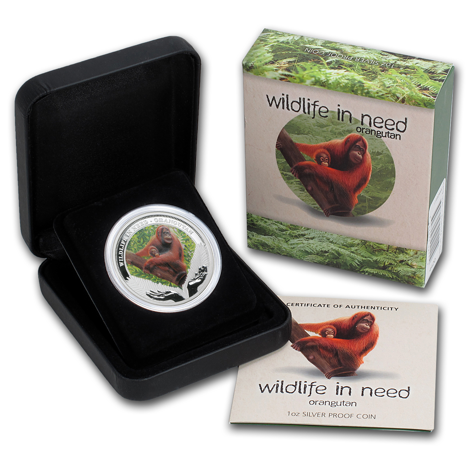 2011 1 oz Proof Silver Orangutan- Wildlife in need Series