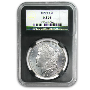 1878-1904 Morgan Dollars - MS-64 NGC Black Holder - 25th Anniv