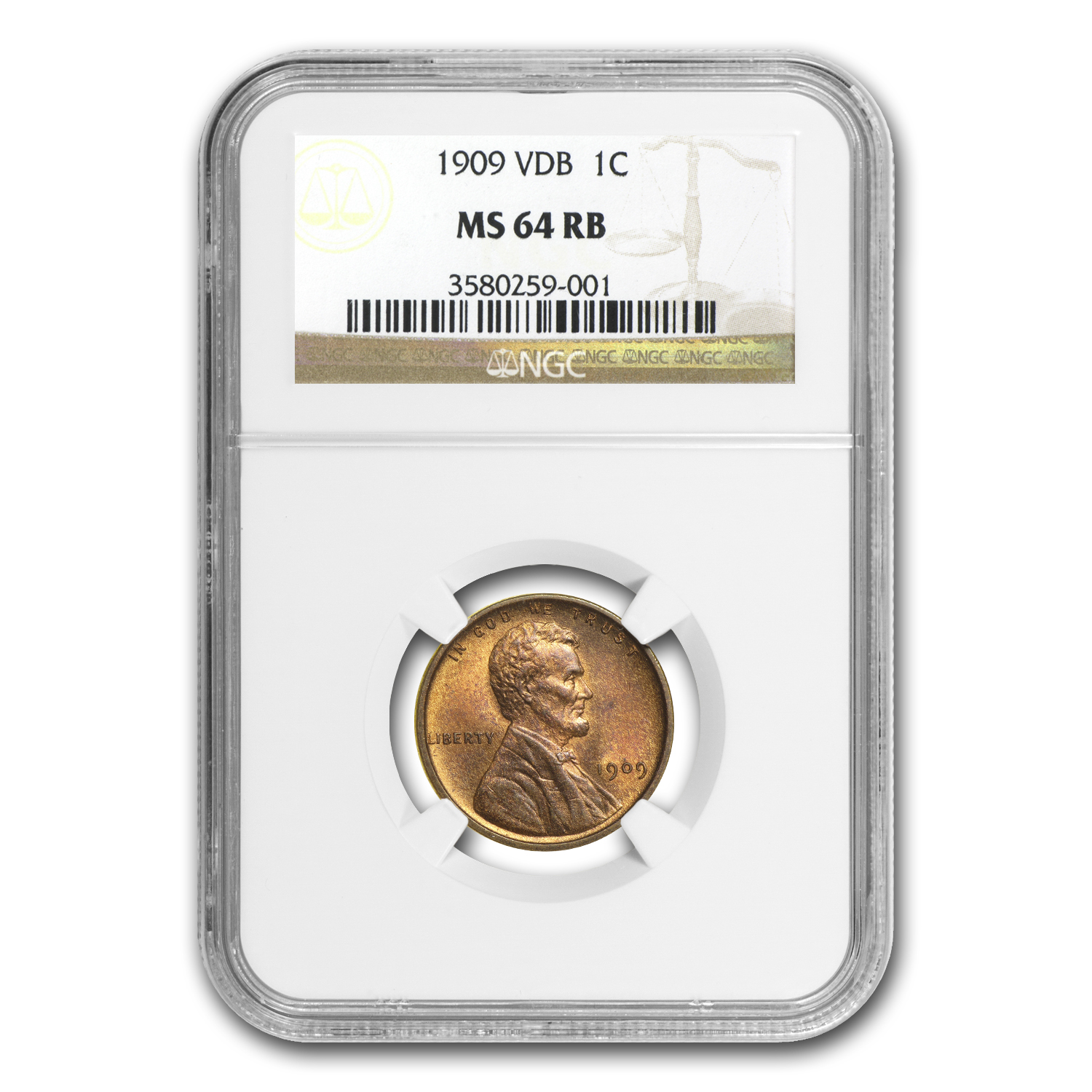1909 VDB Lincoln Cent MS-64 NGC (Red/Brown)