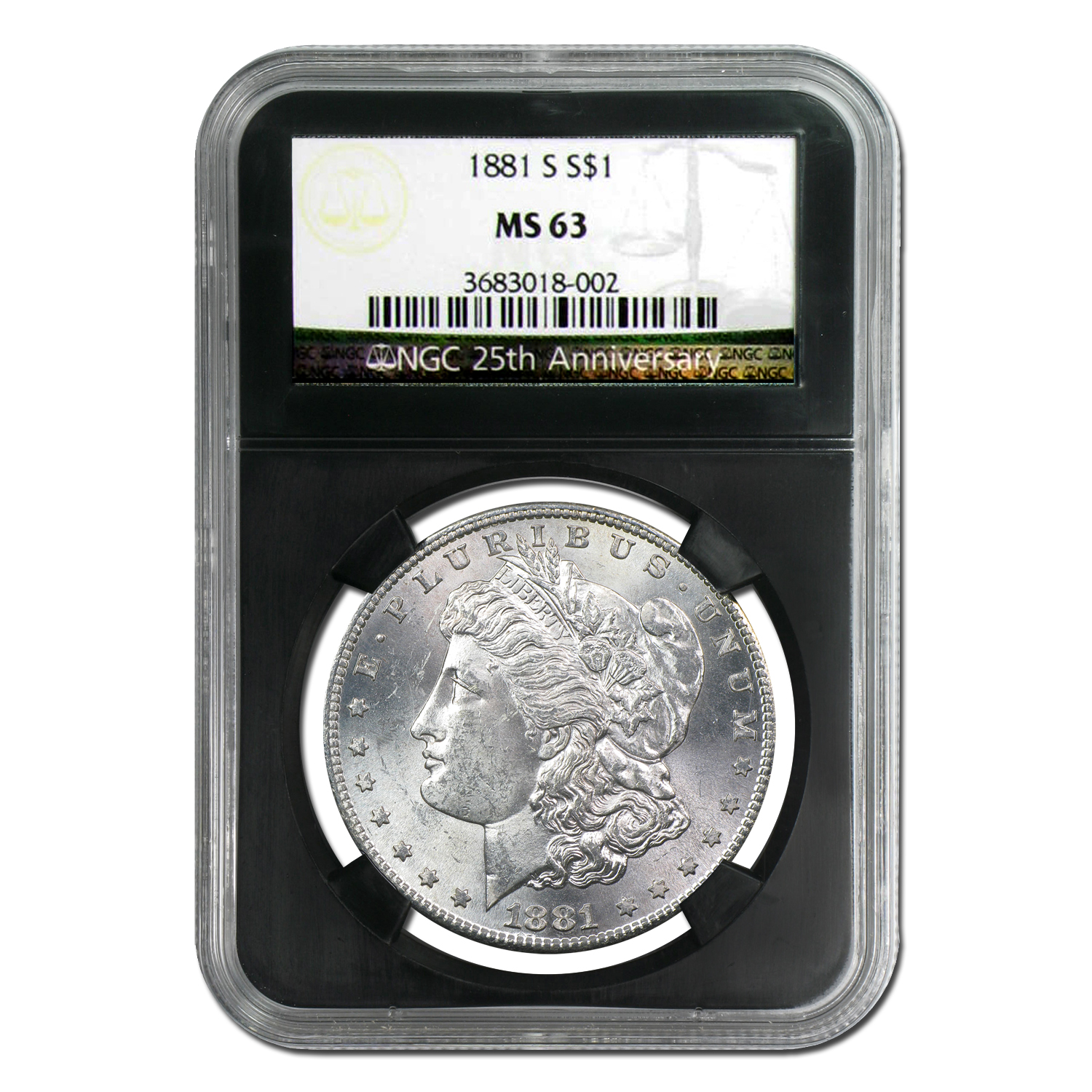 1878-1904 Morgan Dollars - MS-63 NGC (25th Anniversary Holder)