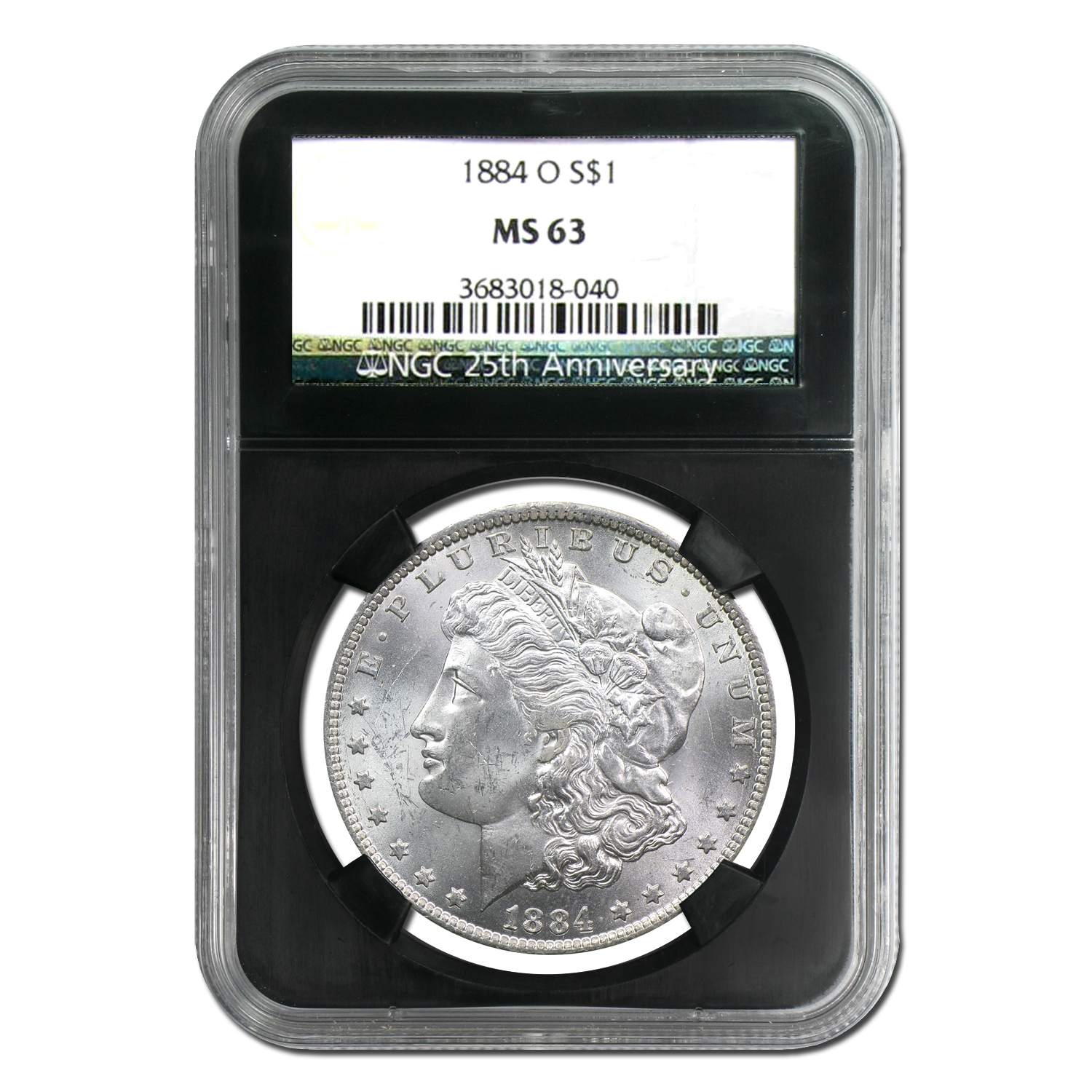 1878-1904 Morgan Dollars - MS-63 NGC Black Holder - 25th Ann