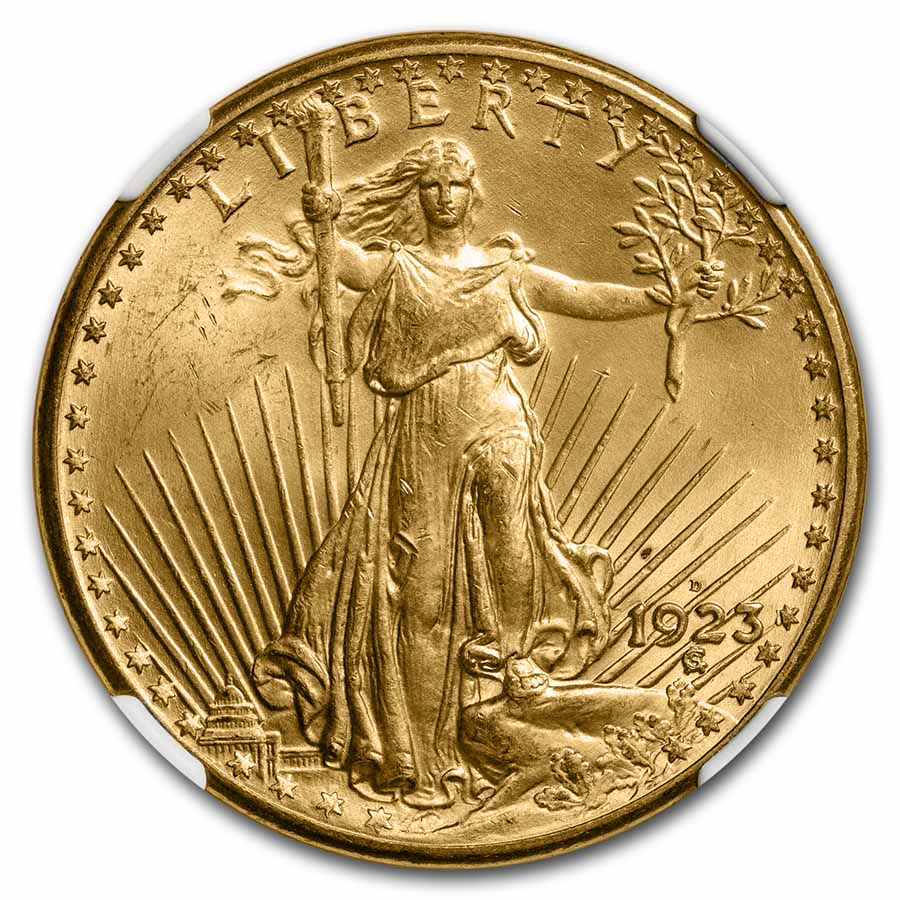 1923-D $20 St. Gaudens Gold Double Eagle - MS-65 NGC