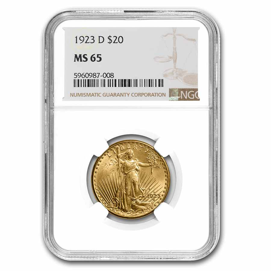 1923-D $20 St. Gaudens Gold Double Eagle MS-65 NGC