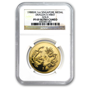 1988 Singapore 1 oz Proof Gold Dragon PF-69 NGC