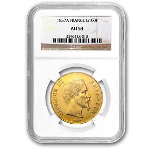 1852-1862 France Gold 100 Francs Napoleon III AU-53 NGC