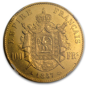 1852-1868 France Gold 100 Francs Napoleon III AU-55 NGC
