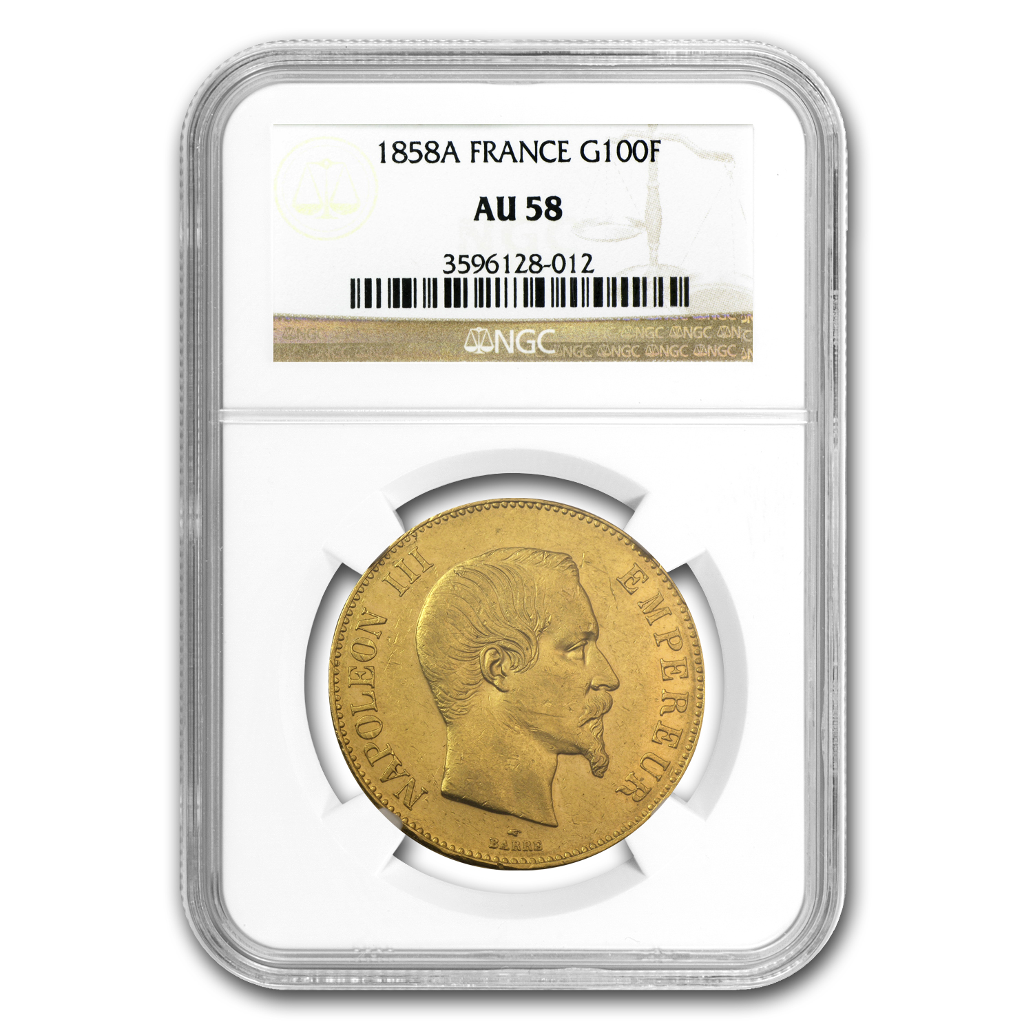 French Gold 100 Francs (Napoleon III) (AU-58 NGC)