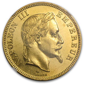 France 1869-A 100 Franc Gold Napoleon III    NGC MS-61