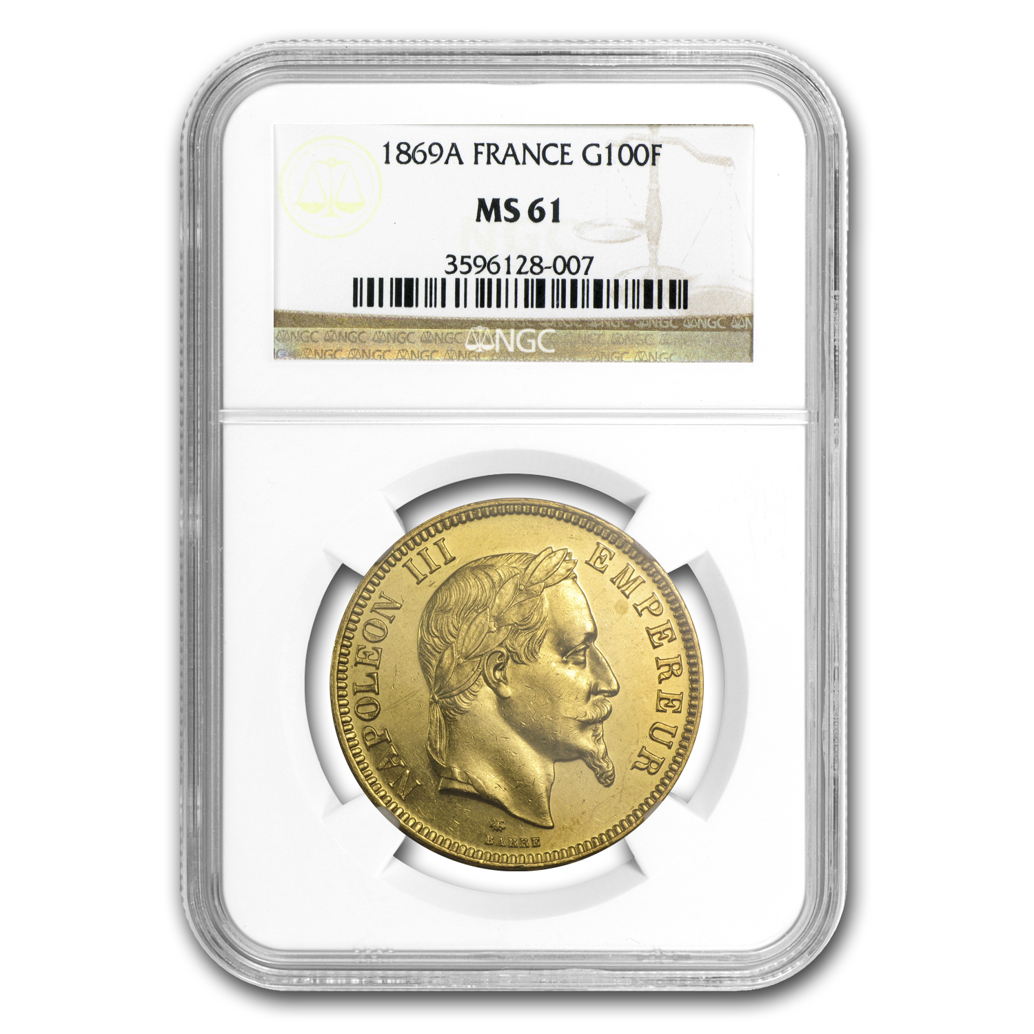 1869-A France Gold 100 Francs Napoleon III MS-61 NGC