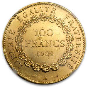 France 1901-A 100 Franc Gold Angel    NGC MS-62