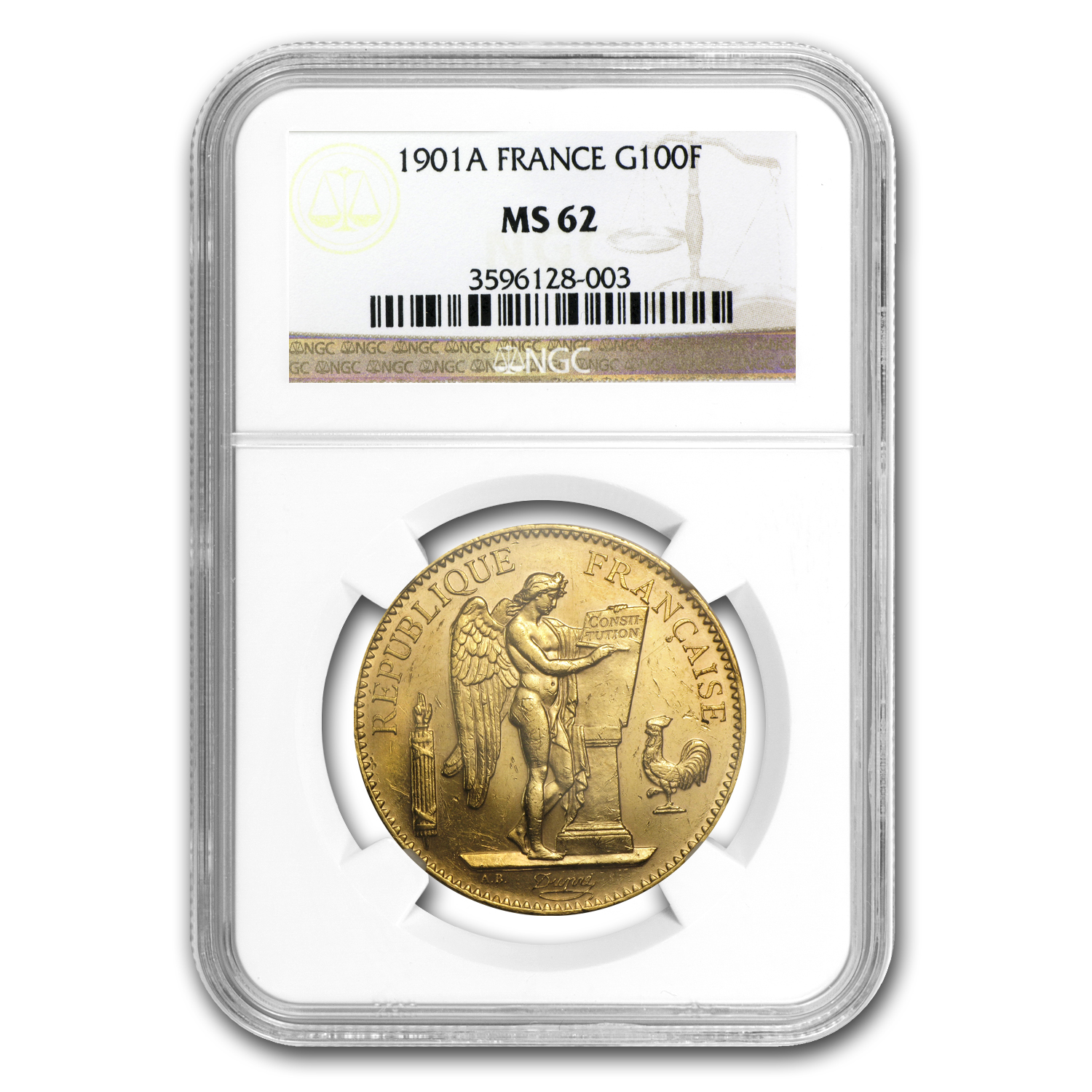 1901-A France Gold 100 Francs Angel MS-62 NGC