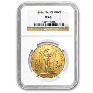 France 1882 100 Franc Gold Angel    NGC MS-61