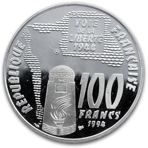 1994 France Silver 100 FrancsSte Mere-Eglise Proof