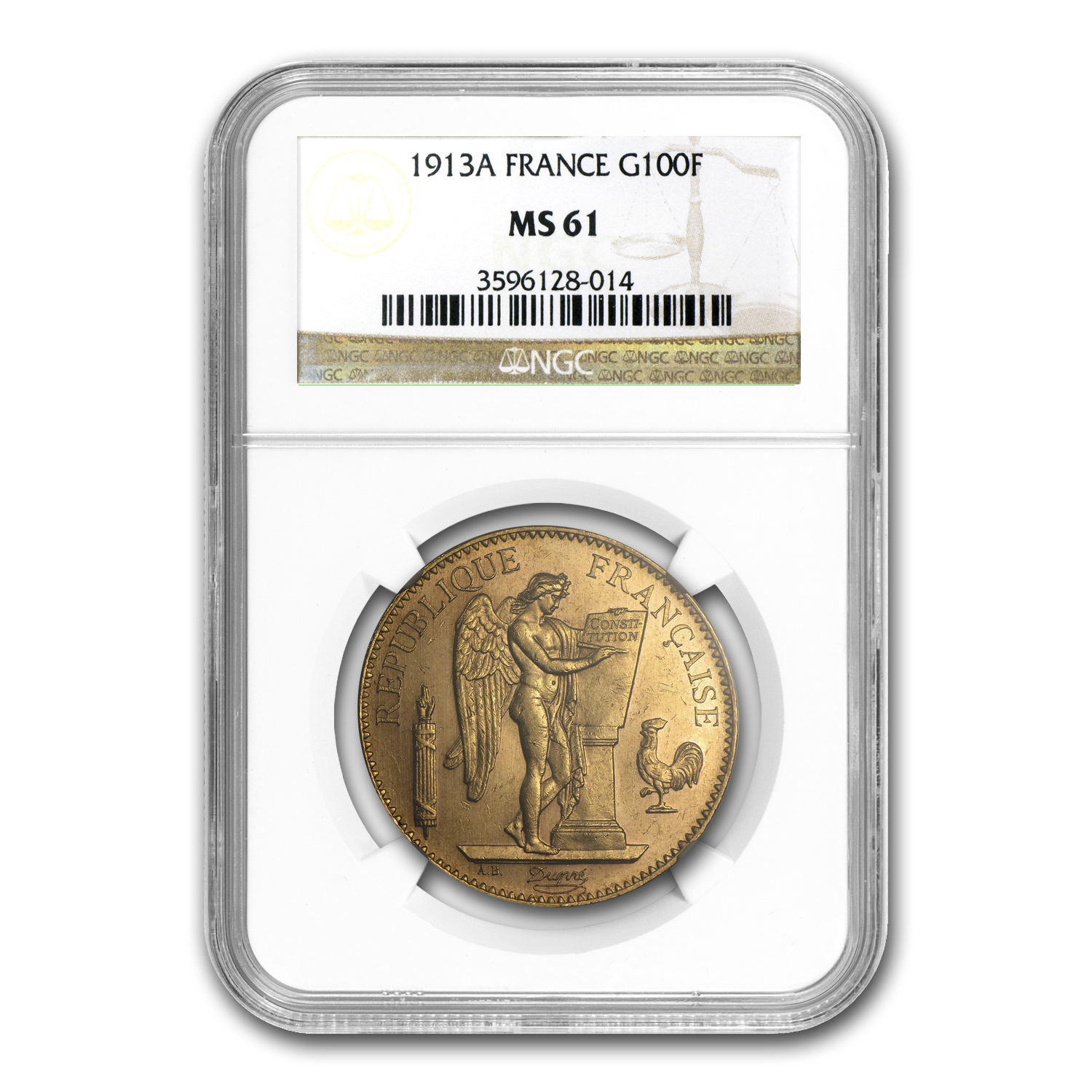 1913 France Gold 100 Francs Angel MS-61 NGC