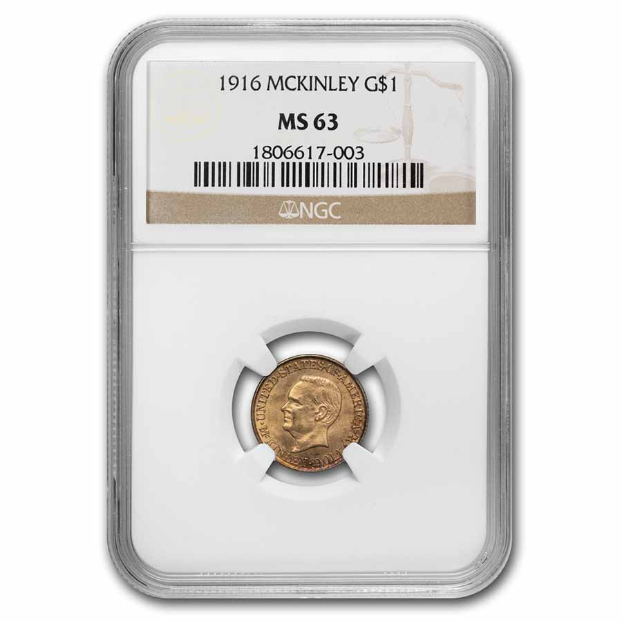1916 Gold $1.00 McKinley MS-63 NGC
