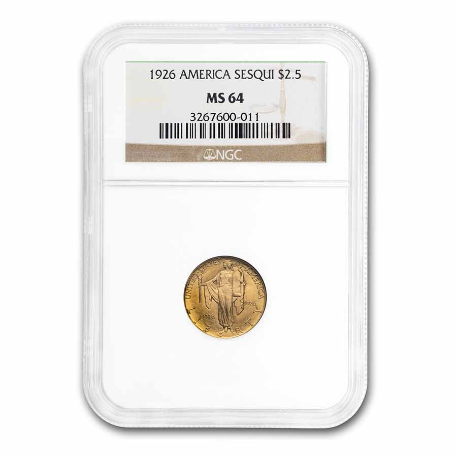 1926 Gold $2.50 America Sesquicentennial MS-64 NGC