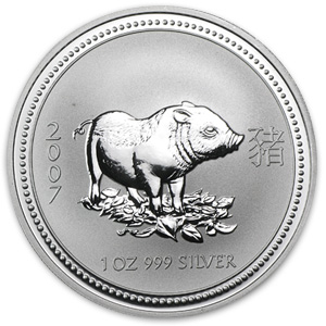 2007 1 oz Silver Lunar Year of the Pig (SI)(Light Abrasions)