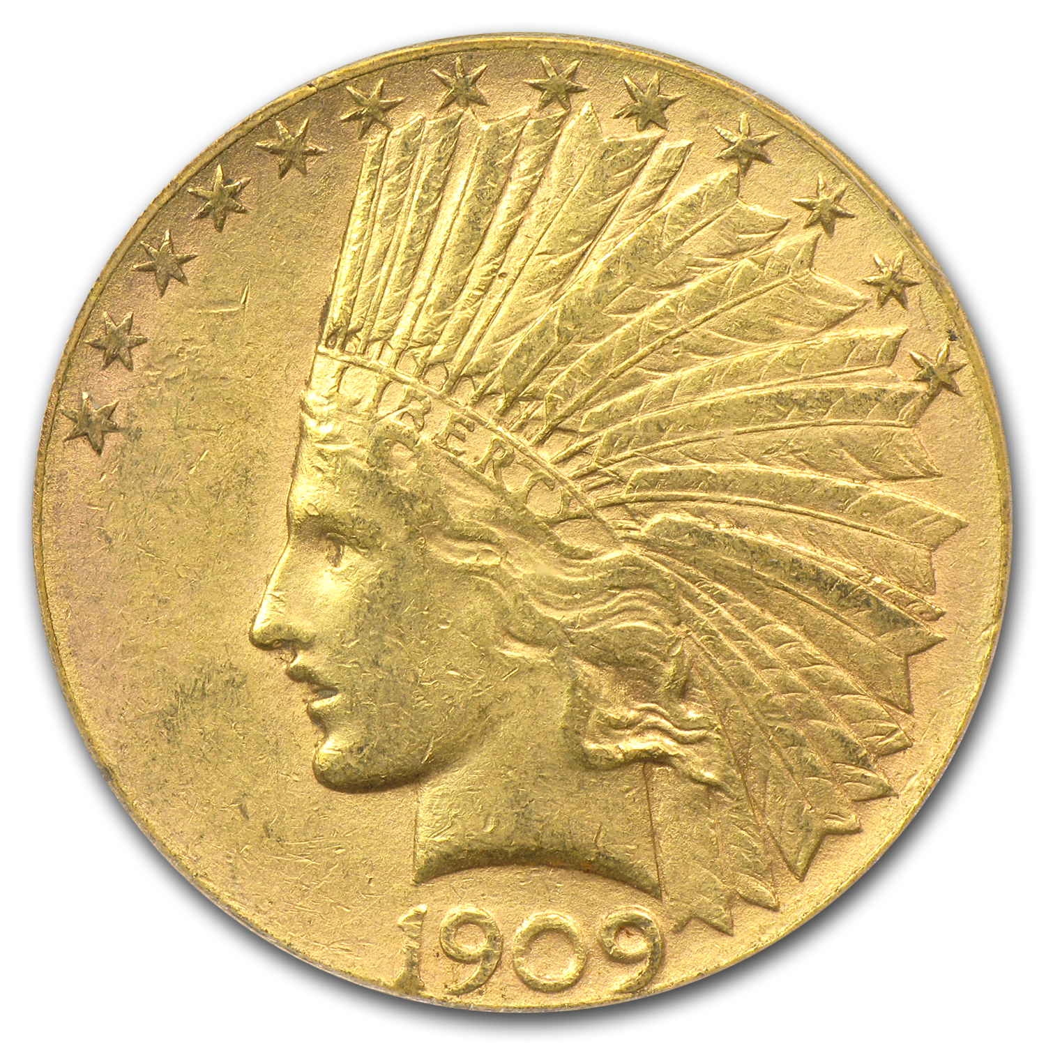 1909-S $10 Indian Gold Eagle AU-55 PCGS