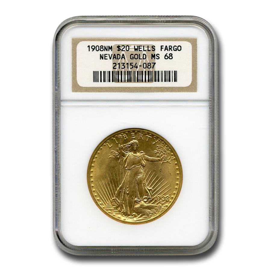 1908 $20 St. Gaudens Gold No Motto MS-68 NGC (Wells Fargo)