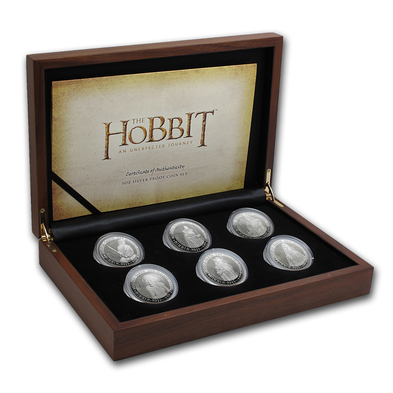 2012 New Zealand 6-Coin 1 oz Silver $1 The Hobbit Proof Set