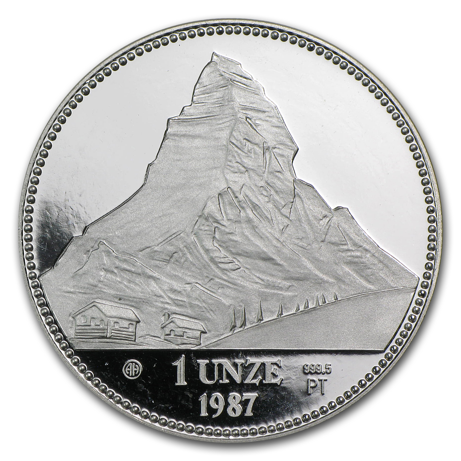 1987 1 oz Swiss Platinum Matterhorn Proof