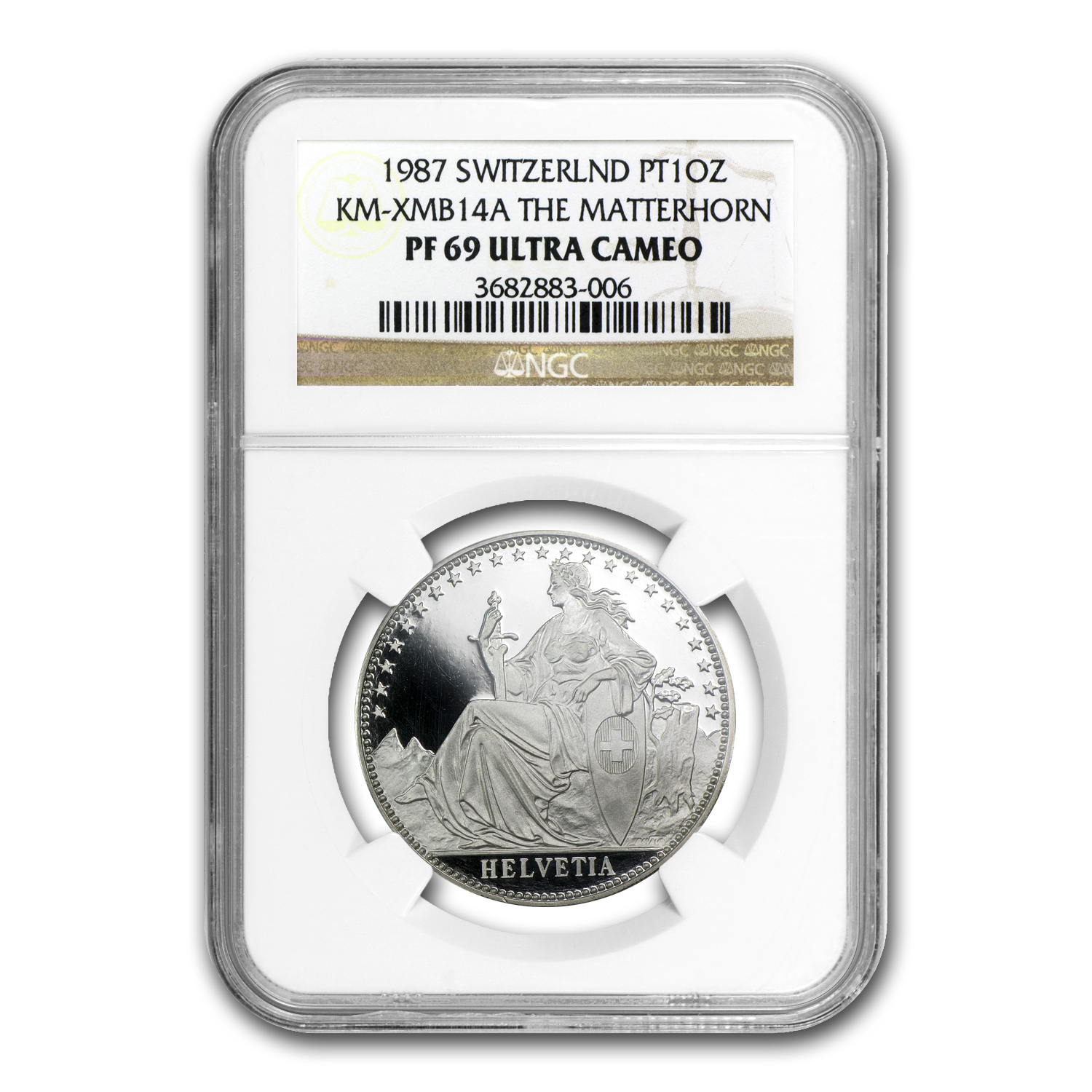 1987 1 oz Proof Swiss Platinum Matterhorn PF-69 NGC