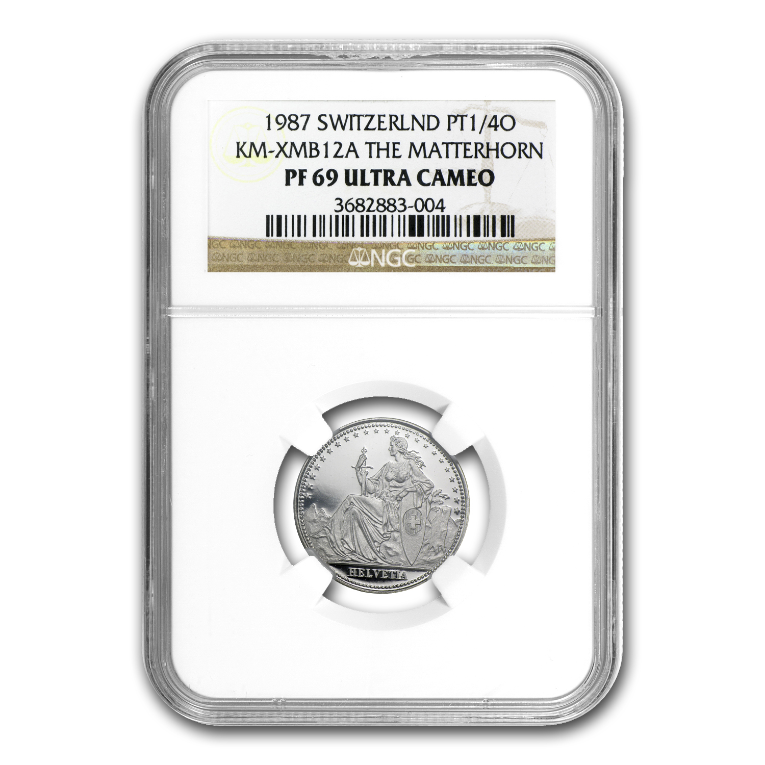 1987 Switzerland 1/4 oz Proof Platinum Matterhorn PF-69 NGC