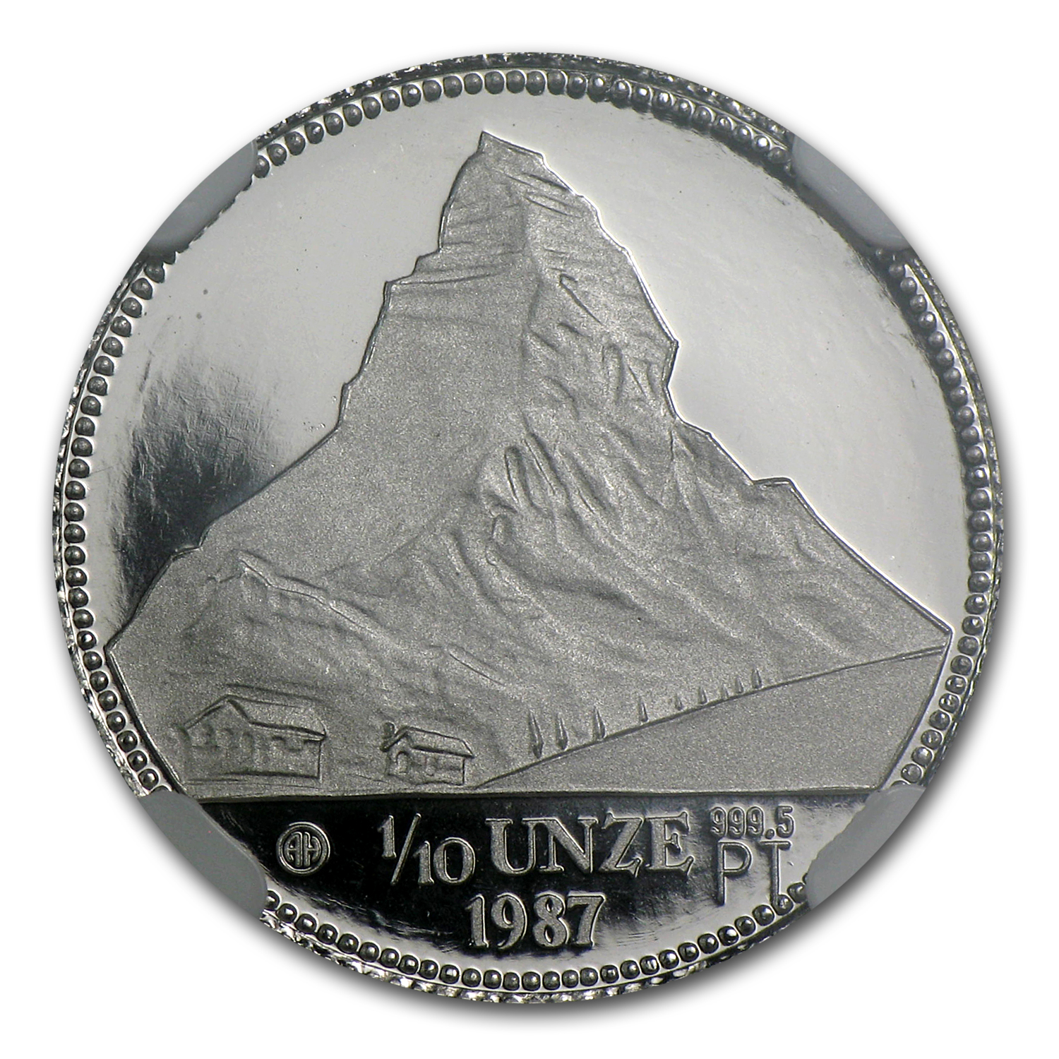 1987 1/10 oz Proof Swiss Platinum Matterhorn PF-69 NGC