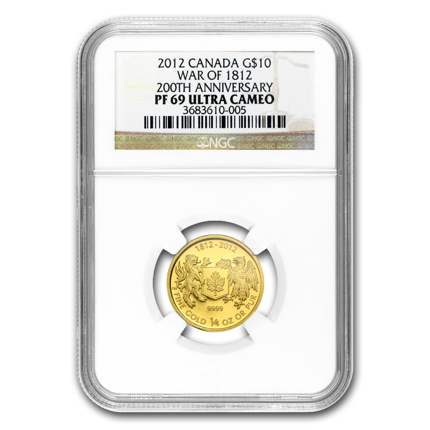 2012 1/4 oz Gold Canadian $10 - War of 1812 - PF-69 UCAM NGC