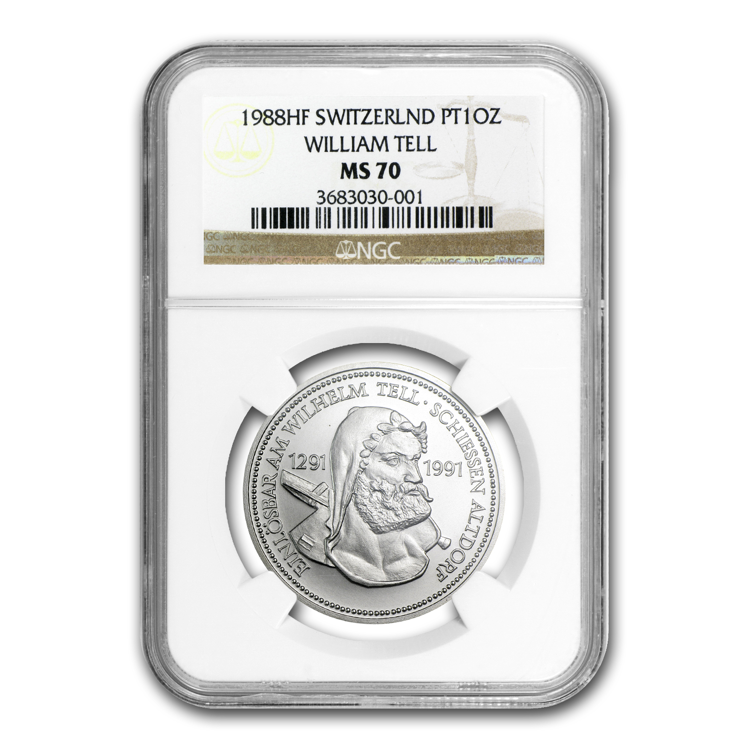 1988 1 oz Swiss Platinum William Tell (MS-70 NGC)