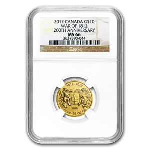 2012 1/4 oz Gold Canadian $10 - War of 1812 - MS-66 NGC