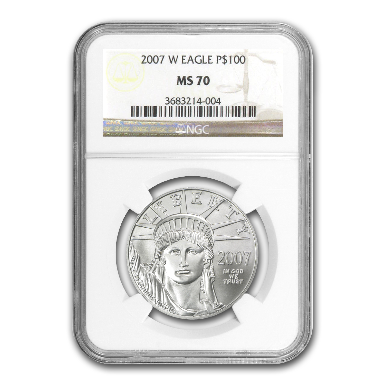 2007-W 4-Coin Burnished Platinum American Eagle Set MS-70 NGC