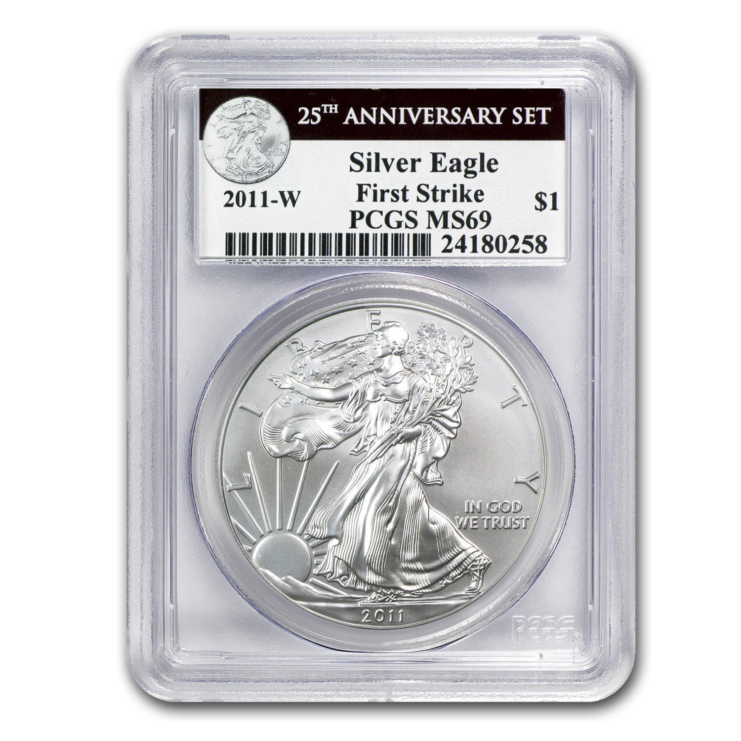 2011-W Burnished Silver Eagle MS-69 PCGS (FS, 25th Ann, Blk Lbl)