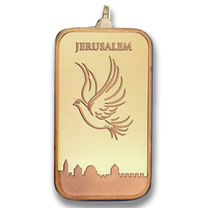 10 gram Dove of Peace Gold Bar Pendant- AGW 0.3461